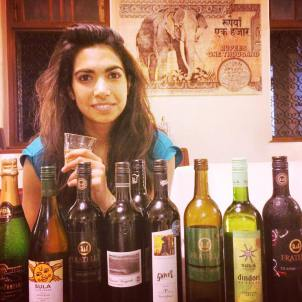 Tasting a selection of Indian wine