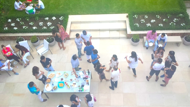 A birds eye view of a garden party I hosted in July